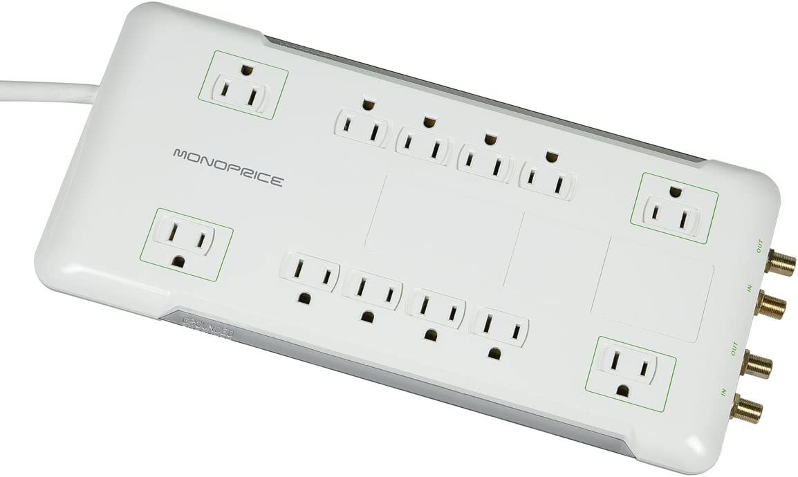 Monoprice 12 Outlet Surge Protector Power Strip with 2X Coaxial Protection – White – 6ft Cord UL Rated, 3,420 Joules with Grounded and Protected Light Indicator 109201