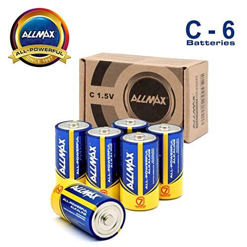 ALLMAX Premium Alkaline Batteries - C Cell Battery (6 Pack) 1.5 Volt - All-Purpose, Leak-Proof, Ultra Long Lasting