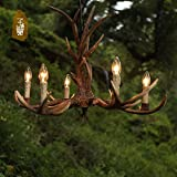 RLYYBE Ceiling Lamp Modern and Classic American Rustic Lodge 6-Head LED Ceiling Light with Wood and Glass Shade for Bedroom Living Room Hallway Entry Balcony Dining Room and Studying Room Diameter 400mm*600mm