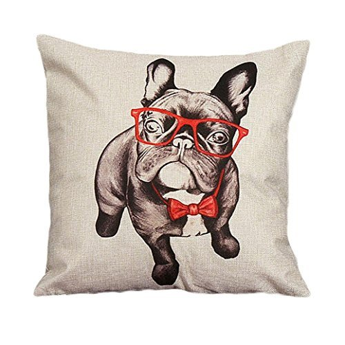 Bulldogs Santa Pillow (Outtop Christmas Gift [ Collection II ] Linen Blend Pillowcases-Cute Designs Sofa Bed Home Decoration Festival Pillow Cushion Covers, 45cm X 45cm/18