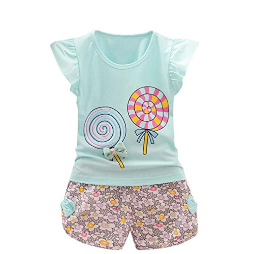 Rosiest 2PCS Toddler Kids Baby Girls Outfits Lolly T-shirt Tops+Short Pants Clothes Set (110, Light Blue)