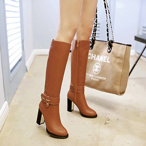 Charm Foot Womens Fashion Winter Chunky Heel Knee High Boots Brown HOHc3d