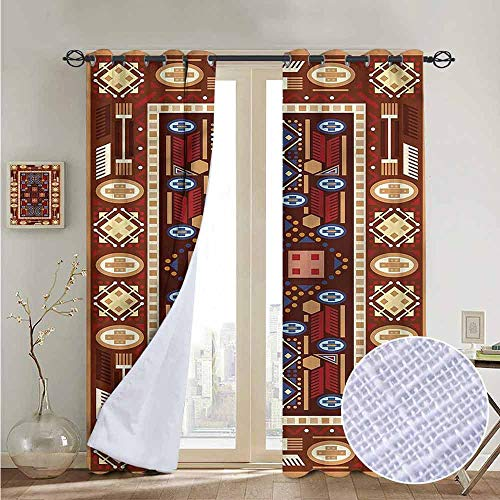 fengruiyanjing Easy Care Privacy Protection Grommet Window Treatment 2 Pieces Home Decor Panels, Afghan, Oriental Rhombus Design (Set of 2 Panels)
