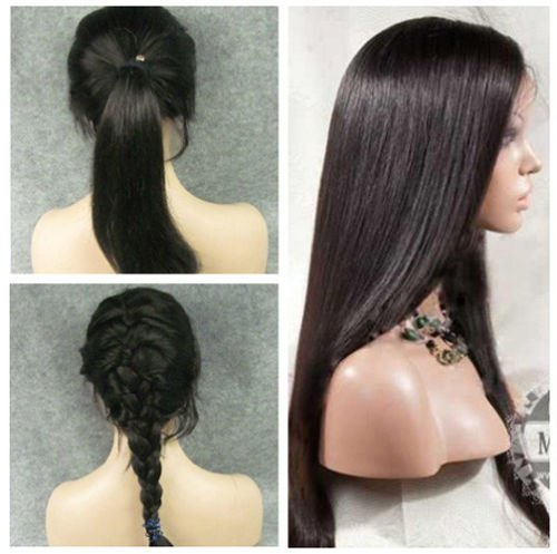 """remeehi 12""""-22"""" Silky Straight Front Lace wig 100% Brazilian Human Hair Natural black 12"""""""