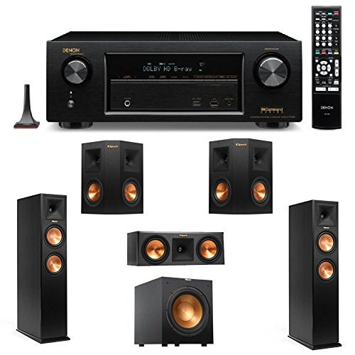 "Denon AVR-X1100W 7.2 Channel Full 4K Ultra HD A/V Receiver with Bluetooth and Wi-Fi + 2 Klipsch RP-260F Reference Premiere 260 Floorstanding Speaker with Dual 6.5 inch Cerametallic Cone Woofers - + Klipsch R-12SW Powerful 12"" 400 watts Subwoofer + Klipsch RP-250C Reference Premiere 250 Center Channel Speaker with Dual 5.25 inch Cerametallic Cone Woofers + 2 Klipsch RP-240S Reference Premiere 240 Surround Speaker with Dual 4 inch Cerametallic Cone Woofers"