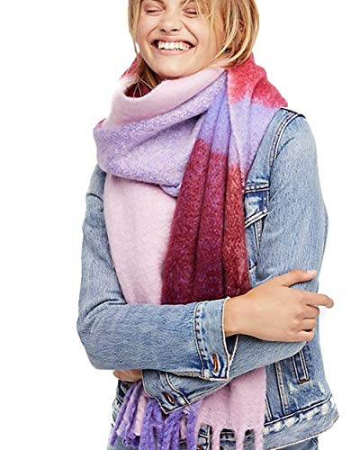 - Free People Cameron Brushed Plaid Scarf (Purple)