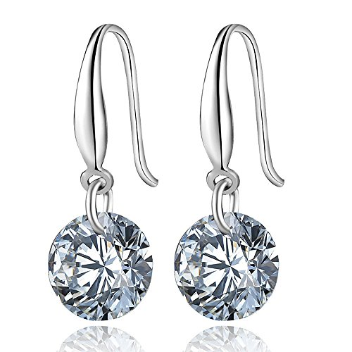 XBRN White Gold Plated 8mm Round Brilliant Shape Cubic Zirconia Sterling Silver Dangle Drop Earrings for Women and (Zirconia Brilliant Earring)