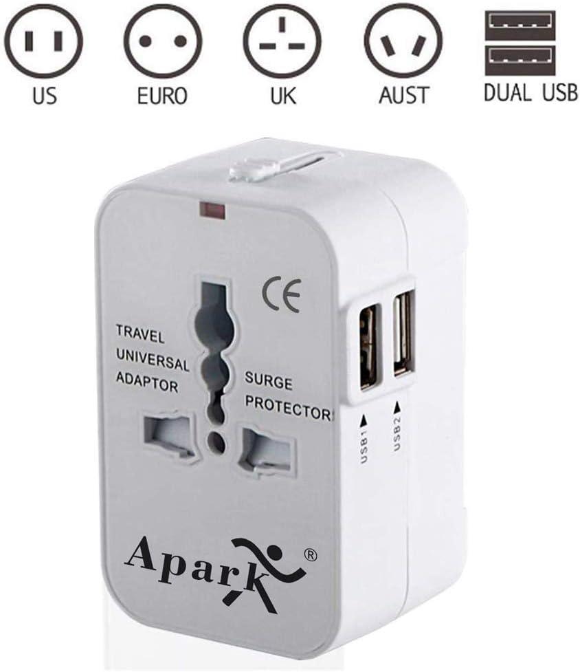 Apark Universal Reiseadapter mit 2 USB Stromadapter Stecker f/ür Europa UK Australien USA China Wei/ß Universeller Weltreise Reisestecker