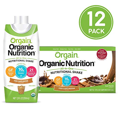 Orgain Organic Nutritional Shake, Iced Cafe Mocha - Meal Replacement, 16g Protein, 21 Vitamins & Minerals, Gluten Free, Soy Free, Kosher, Non-GMO, 11 Ounce, 12 Count (Packaging May Vary) (Best Protein Shakes To Gain Weight Fast)