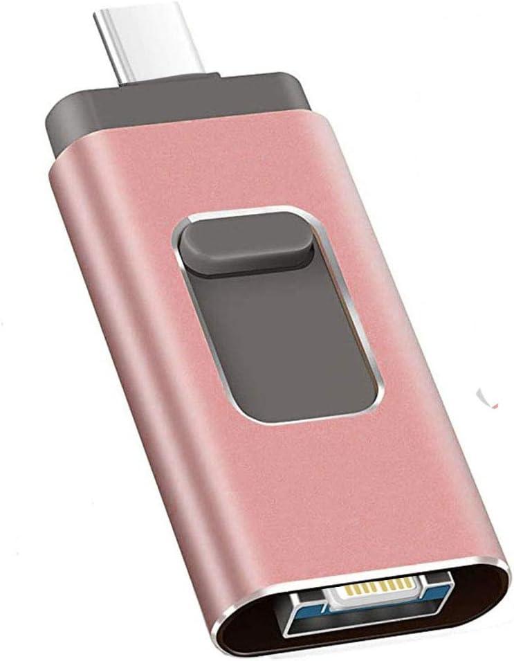 USB Flash Drive 256GB, Kimiandy Type C Flash Drive 256GB for iPhone/iPad Memory Stick Thumb Drive High Speed Pen Drive (256GB Pink)
