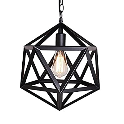 Industrial Cage One-light Pendant Light-LITFAD Retro Black Vintage Hanging Pendant Lamp Ceiling Pendant Fixtures with Iorn Outshape