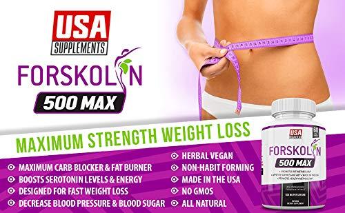 Pure Forskolin Extract for Weight Loss & Appetite Suppression   Diet pills that work fast for women & Men   Hunger Suppressant, Metabolism Booster, Carb Blocker & Belly Fat Burner   Coleus Forskohlii