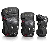 JBM BMX Bike Knee Pads and Elbow Pads with Wrist Guards Protective Gear Set for Biking, Riding, Cycling and Multi Sports Safety: Scooter, Skateboard, Bicycle, Rollerblades