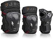 JBM - Juego de rodilleras y coderas para bicicleta BMX con muñequeras protectoras para ciclismo, equitación, c