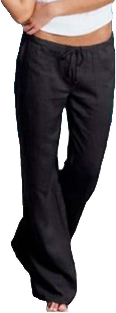 hibote Pantalones Mujer Pantalones Deportivos cómodos Pantalone Bootcut Suaves Moderno Largo con cordón Pantalones Acampanados Ocasionales de la Cintura Alta