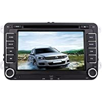 Double Din 7 Car DVD Player GPS Navigation Car Stereo for VW HD Digital touchscreew 2din Car Radio FM AM Transmitter Supports Canbus/Steering Wheel Control/Bluetooth+Free Remote Control