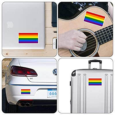 dealzEpic - Rainbow Flag/Gay Pride Symbol Sign - Self Adhesive Peel and Stick Vinyl Mac Decal/Car Bumper Sticker - 3.94 x 2.13 inches | Pack of 4 Pcs : Office Products