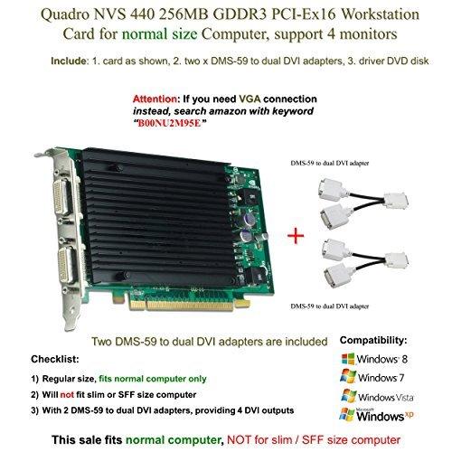 Quadro Nvs 440 256Mb Gddr3 Pci Ex16  Support 4 Monitor  Dvi Connection