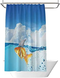 Sea Animal Decor Shower Curtain Blue Cute Goldfish with Shark Fin on Top of The Water Fake Comic Nature Image Waterproof and moistureproof W108 x L70 Inch Blue Orange