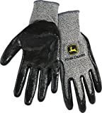 John Deere JD00019 Breathable Knit Utility Work Gloves with Puncture Resistant Nitrile Coated Grip: Grey, Medium, 1 Pair