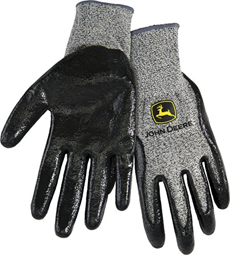 West Chester John Deere JD00019 Breathable Knit Utility Work Gloves with Puncture Resistant Nitrile Coated Grip: Grey, Medium, 1 Pair