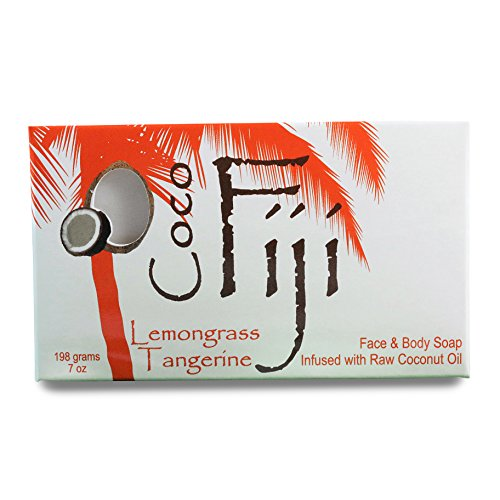 Coco Fiji Coconut Oil Organic Soap Moisturizing Face and Body Soap Bar Lemongrass Tangerine 7 Ounce Lemongrass Moisturizing Bar Soap