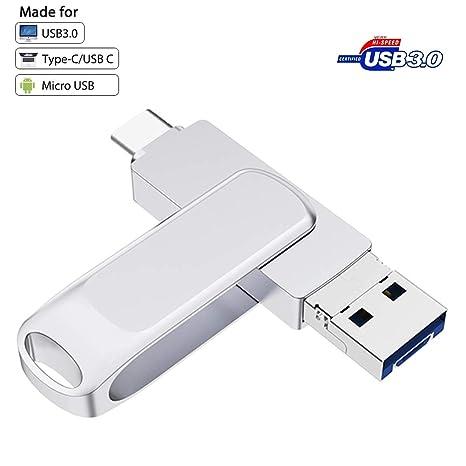 Memoria USB C OTG USB 3.0,Micro USB y USB Tipo C Pen Drive Metálica