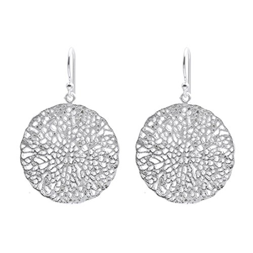 Silverly Women's .925 Sterling Silver Honeycomb Sea Coral filigree Satin Dangle ()