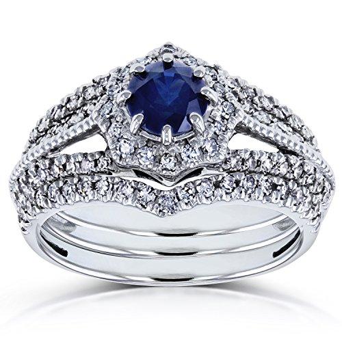 Sapphire and 3/5ct TDW Diamond Star Halo Bridal Set 14k White Gold (3 Piece Set), Size 8.5, White ()