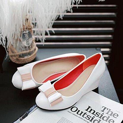 Easemax Femmes Élégantes Arcs Bout Rond Mi-talon Talon Slip Sur Les Chaussures De Chaussures Blanc