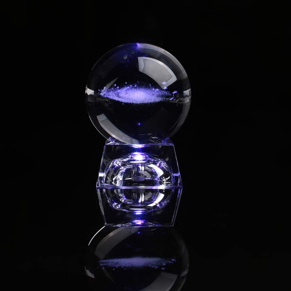 professeurs de Physique Haihuic Voie lact/ée grav/ée Boule de Cristal 60 mm avec Base Lumineuse LED Mod/èle Cosmique color/é Cadeau danniversaire pour Enfants