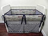 Nursery Bedding, Baby Crib Bedding Set Oliver, Boy Baby Bedding, Airplane Crib Bedding, Gray and Navy Baby Bedding - Choose Your Pieces