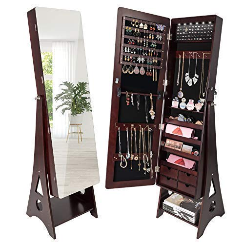 - SUNCOM 6 LED Jewelry Cabinet, Full Length Mirror Standing Jewelry Armoire Lockable Storage Organizer with 4 Drawers