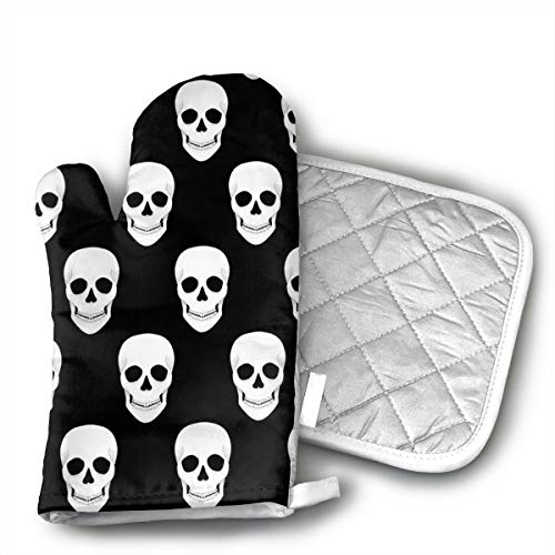 Halloween Holiday Skull Shaped Oven Mitts and Pot Holders Set of 2 for Kitchen Set with Cotton Non-Slip Grip, Heat Resistant, Oven Gloves for BBQ Cooking Baking, Grilling, Machine Washable]()