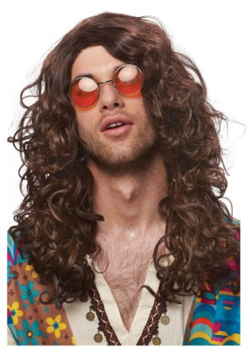 Franco American Novelty Company Hippie Rocker Brown Wig, Brunette, Standard