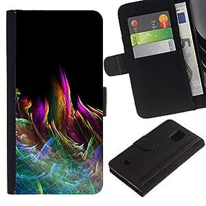 KLONGSHOP // Tirón de la caja Cartera de cuero con ranuras para tarjetas - Colorido Llama Modelo abstracto - Samsung Galaxy S5 Mini, SM-G800 //