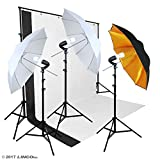 Linco Lincostore Photography Black and White Backdrop Photo Studio Lighting Umbrella Kit w/ Backdrop Stand AM122