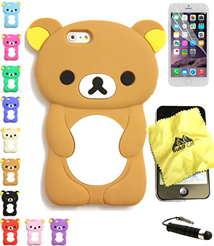Bukit Cell Bundle: Brown 3D Teddy Bear Cute Animal Silicone Case for 4.7 Inch Iphone 6s / Iphone 6 [ NOT for Iphone 6 plus ], Cleaning Cloth , Screen Protector , Metallic Stylus Touch Pen