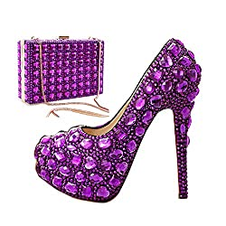 Purple Crystal Wedding Shoes with Clutch