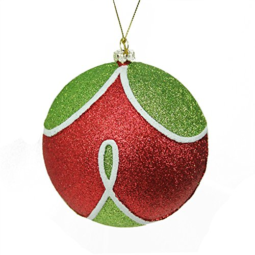 Northlight Merry & Bright Red, Green and White Glitter Shatterproof Christmas Ball Ornament 4