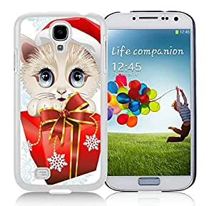 Hot Sell Design Samsung S4 Protective Skin Cover Christmas Cat White Samsung Galaxy S4 i9500 Case 22