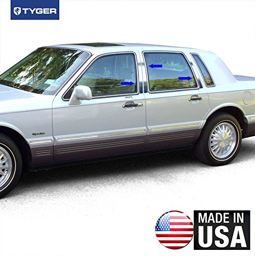 Made in USA! Works with 1990-1997 Lincoln Town Car 6 PC Stainless Steel Chrome Pillar Post Trim ()