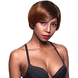 Gotta Short Synthetic Wig 6.5'' Hair Full Wig Side Part Heat Reasistant Fiber Ombre Replacement Wig for Women, Natural Black to Medium Auburn