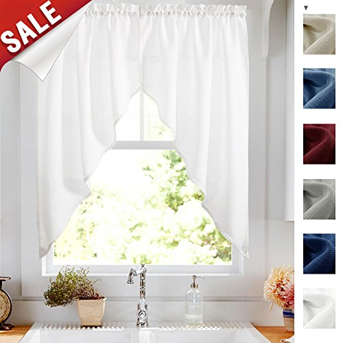 (Kitchen Curtains Valances and Swags for Windows 63 inches Long, Home Decor Semi Sheer Valance Solid Color Rod Pocket Textured Window Swags for Kitchen (Set of Two, 36