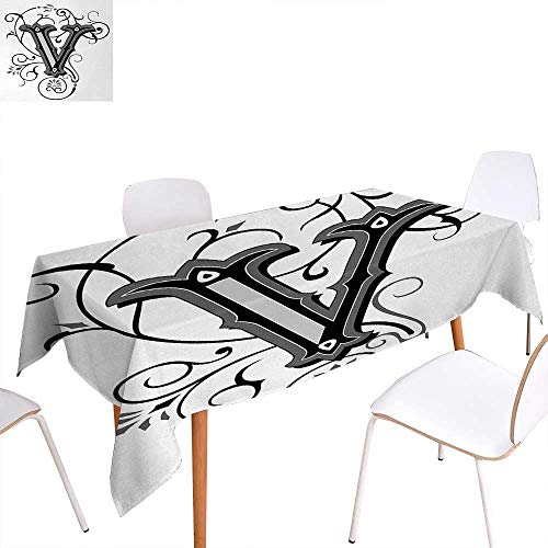 Warm Family Letter V Dinner Picnic Table ClothGothic Halloween Style Uppercase V with Curved Lines Ivy Stripes Calligraphy Waterproof Table Cover for Kitchen 70