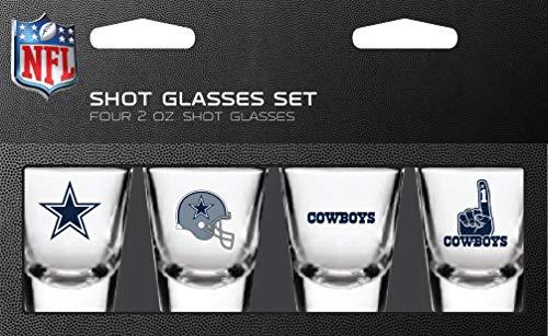 NFL Dallas Cowboys Shot Glass Set4 Pack Shot Glass Set, Team Colors, One Size