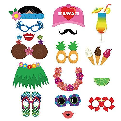 60pcs Luau Photo Booth Props- Party Supplies /Easter decorations/Hawaiian/Tropical/Tiki/Summer Pool Party Decorations - Luau Out Cut Decorations