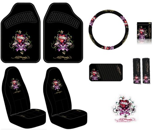 Amazon Ed Hardy Love Kills Slowly Seat Covers Floor Mats Steering Wheel Cover Shoulder Belt Pads Visor Organizer Pouch And Decal 10 Pc Set