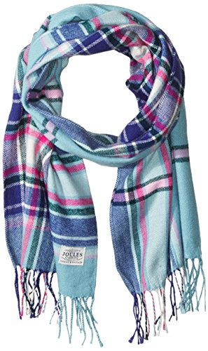 Joules Women's Bracken Scarf, Soft Teal Check, One Size