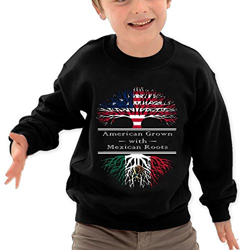 Price comparison product image Puppylol American Grown W Mexican Kids Classic Crew-neck Pullover Hoodie Black 2 Toddler